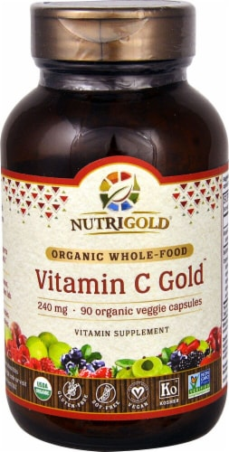 NutriGold Organic Whole Food Vitamin C Gold Veggie Capsules 240mg Perspective: front