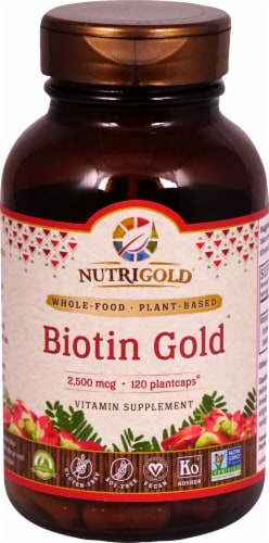NutriGold Biotin Gold 1000 mcg Plantcaps Perspective: front