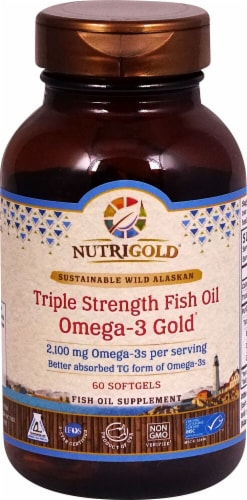 NutriGold  Triple Strength Fish Oil Omega-3 Gold® Perspective: front