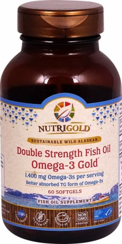 NutriGold  Double Strength Fish Oil Omega-3 Gold® Perspective: front