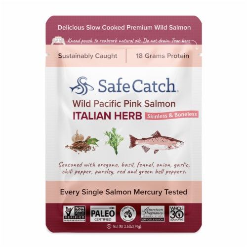 Safe Catch Wild Pacific Pink Salmon Italian Herb Pouch Perspective: front