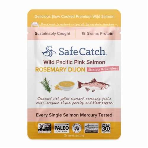 Safe Catch Rosemary Dijon Wild Pacific Pink Salmon Pouch Perspective: front