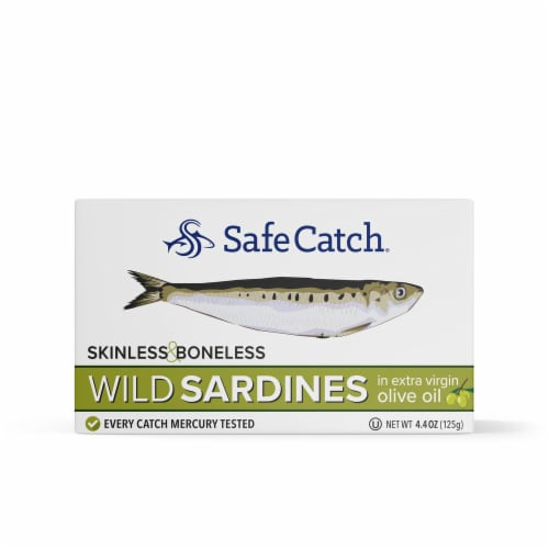 Safe Catch Boneless and Skinless Wild Sardines in Extra Virgin Olive Oil Perspective: front