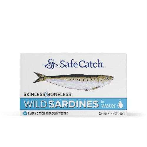 Safe Catch Boneless and Skinless Wild Sardines in Water Perspective: front