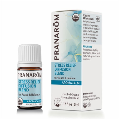 Pranarom Aromacalm Stress Relief Diffusion Blend Essential Oil Blend Perspective: front