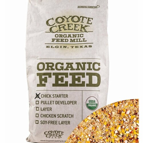 Coyote Creek Organic Feed Mill 220930 50 lbs Organic Poultry Starter & Grower Perspective: front