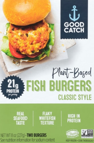 Good Catch Foods Classic Style Plant Based Fish Burgers Perspective: front