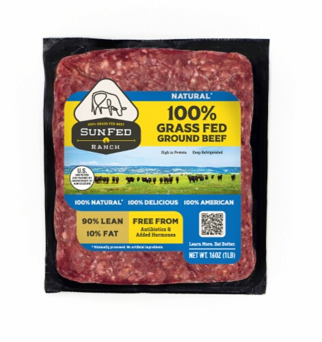 Sunfed Ranch Natural 90% Lean Ground Beef Perspective: front