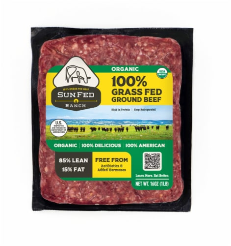Sunfed Ranch Organic 85% Lean Ground Beef Perspective: front