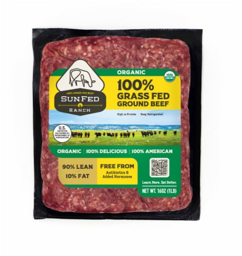 Sunfed Ranch Organic 90% Lean Ground Beef Perspective: front
