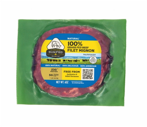 Sunfed Ranch Natural Grass Fed Beef Filet Mignon Perspective: front