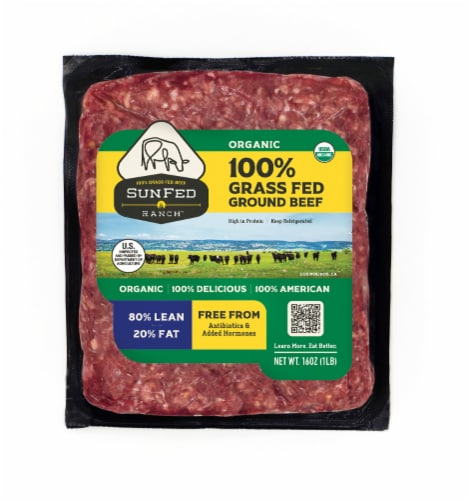Sunfed Ranch Organic Grass Fed 80% Lean Ground Beef Perspective: front