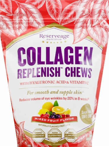 Reserveage Nutrition Collagen Replenish™ Skin Revitalizing Mixed Fruit Fruit Chews 60 Count Perspective: front