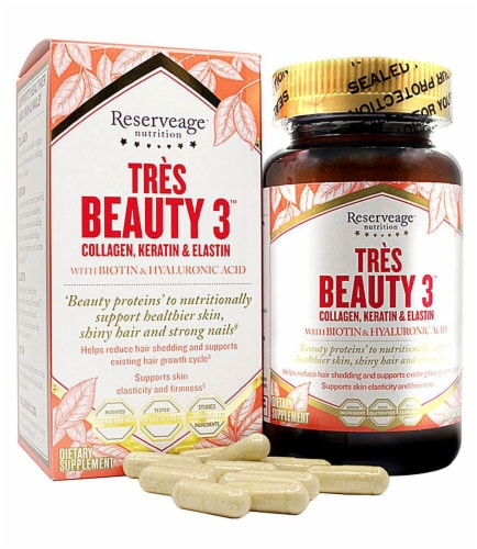 Reserveage Nutrition Tres Beauty 3 Collagen Keratin & Elastin Capsules Perspective: front