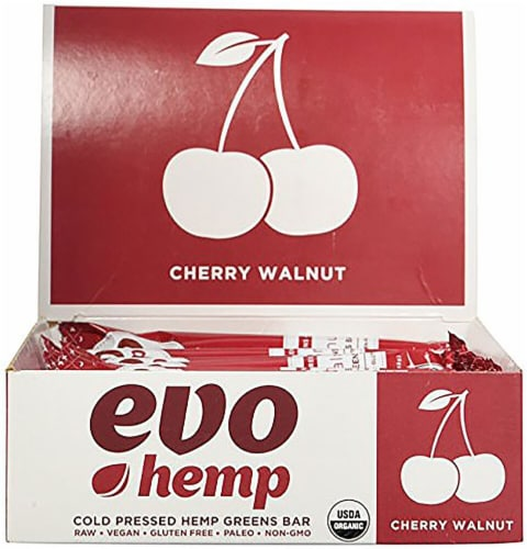 Evo Hemp  Hemp Fruit & Nut Bars   Cherry Walnut Perspective: front