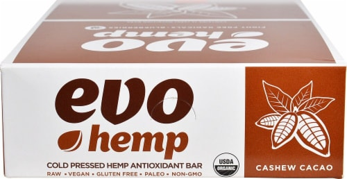 Evo Hemp  Hemp Fruit & Nut Bars   Cashew Cacao Perspective: front