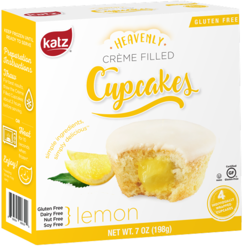 Katz Gluten Free Lemon Creme Filled Cupcakes Perspective: front