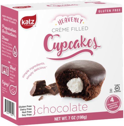 Katz Gluten Free Chocolate Creme Filled Cupcakes Perspective: front
