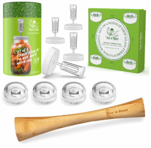 Complete Fermenting Set - 4 NonSlip Grip Fermentation Weights, 4 Clear Lids, 1 Cabbage Tamper Perspective: front