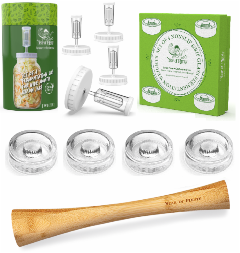 Complete Fermenting Kit - 4 White Fermenting Lids, 4 NonSlip Grip Weights, 1 Cabbage Tamper Perspective: front