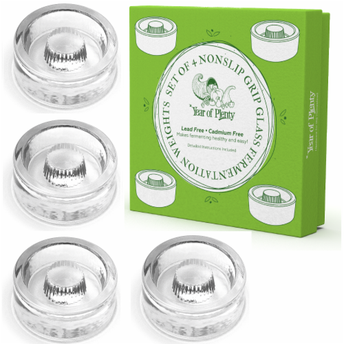 Year of Plenty Fermentation Weights | 4-Pack | NonSlip Grip | for Wide Mouth Mason Jars Perspective: front
