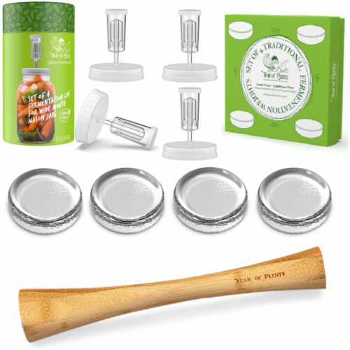 Complete Fermenting Kit - 4 Clear Fermentation Lids, 4 Weights, 1 Cabbage Tamper Perspective: front