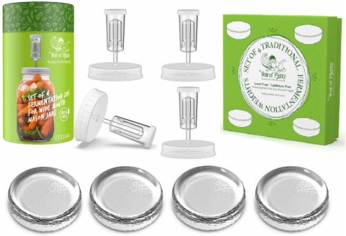 Fermenting Kit - 4 Fermentation Weights & 4 Clear Airlock Lids for Wide Mouth Mason Jars Perspective: front