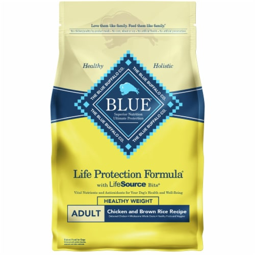Blue Buffalo Chicken and Brown Rice Recipe Life Protection Formula Natural Dog Food Perspective: front