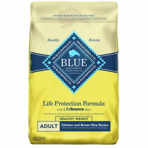 Blue Buffalo Life Protection Formula Healthy Weight Chicken & Brown Rice Dry Adult Dog Food Perspective: front