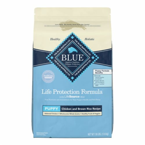 Blue Buffalo Chicken & Brown Rice Dry Puppy Food Perspective: front