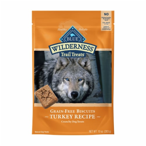 BLUE Wilderness Trail Treats Turkey Recipe Grain-Free Biscuits Dog Treats Perspective: front