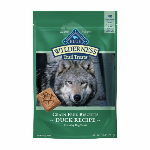 BLUE Wilderness Trail Treats Duck Recipe Grain-Free Biscuits Dog Treats Perspective: front