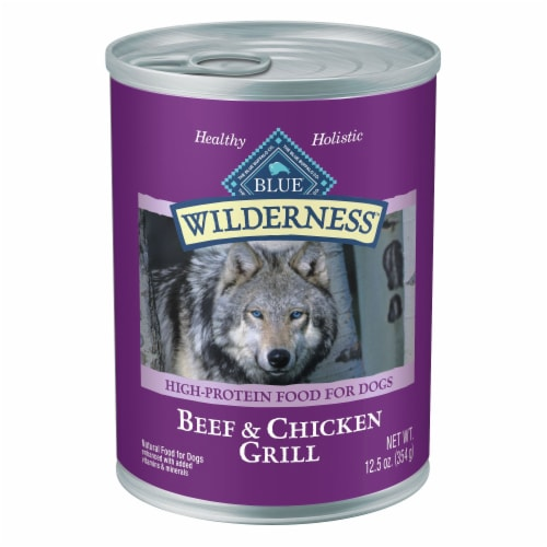 Blue Wilderness Beef & Chicken Grill Flavor Wet Dog Food Perspective: front