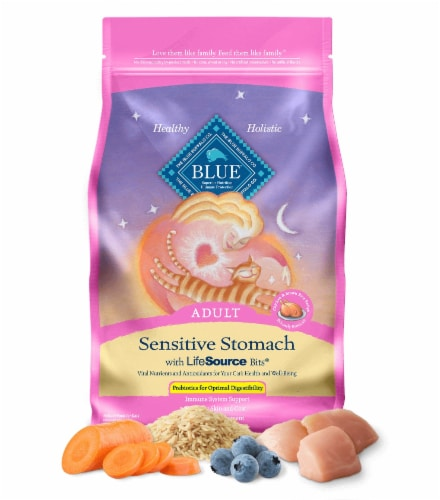 Blue Buffalo Chicken & Brown Rice Sensitive Stomach Adult Dry Cat Food Perspective: front