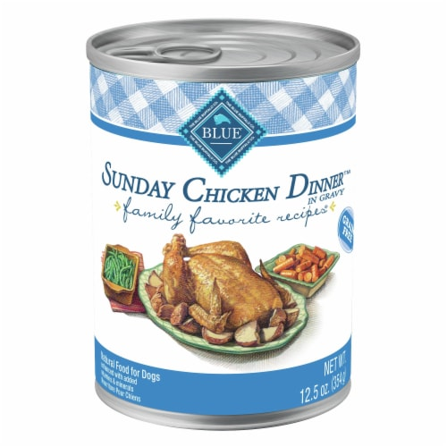 Blue Buffalo Sunday Chicken Dinner in Gravy Small Breed Wet Dog Food Perspective: front