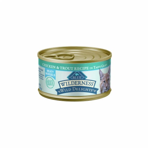 Blue Wilderness Wild Delights Chicken & Salmon Wet Cat Food Perspective: front
