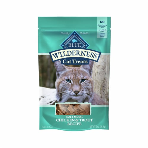 Blue Buffalo Wilderness Chicken & Trout Recipe Cat Treats Perspective: front