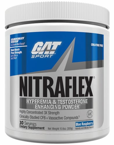 GAT NITRAFLEX™ Blue Raspberry Flavored Protein Powder Perspective: front