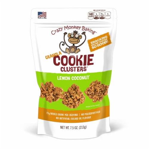 Crazy Monkey Baking Lemon Coconut Granola Cookie Clusters Perspective: front
