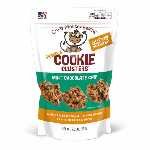 Crazy Monkey Mint Chocolate Chip Granola Cookie Crunch Perspective: front