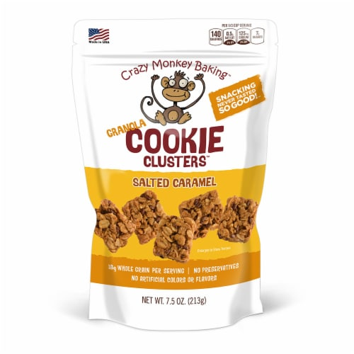Crazy Monkey Baking Salted Caramel Granola Cookie Clusters Perspective: front