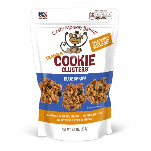 Crazy Monkey Baking Blueberry Granola Cookie Clusters Perspective: front