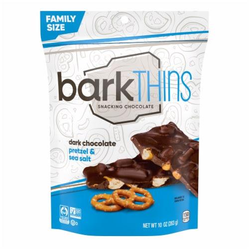 barkThins Dark Chocolate Pretzel & Sea Salt Snacking Chocolate Family Size Perspective: front