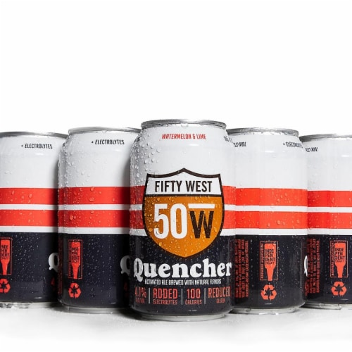 Fifty West Brewing Quencher Watermelon & Lime Activated Ale Perspective: front