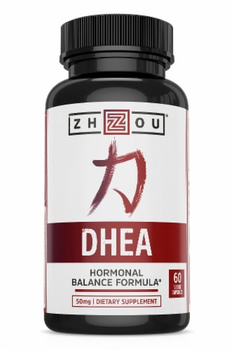 Zhou Dhea 5 Hormonal Balance Formula Dietary Supplement Capsules Perspective: front