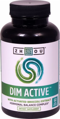 Zhou DIM Active with Activated Broccoli Extract Dietary Supplement Veggie Capsules Perspective: front