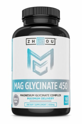 Zhou Mag Glycinate Tablet 450mg 180 Count Perspective: front