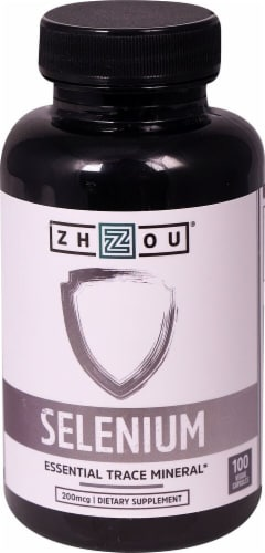 Zhou Selenium Dietary Supplement Veggie Capsules 200mcg Perspective: front