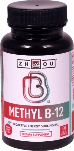 Zhou Methyl B-12 Natural Cherry Flavor Dietary Supplement Micro Lozenges Perspective: front