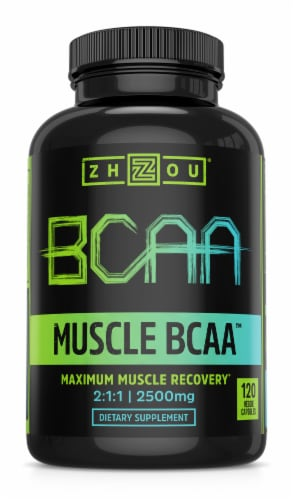 Zhou Muscle BCAA™ Maximum Muscle Recovery 2500 mg Veggie Capsules Perspective: front